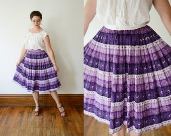 1950s Purple Pleated Skirt - XS/S