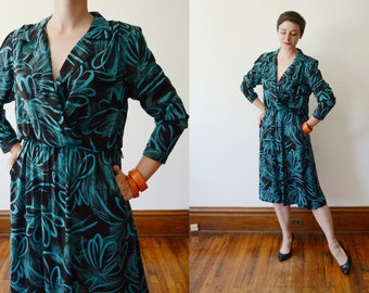 1980s Black and Turquoise Shirtwaist Dress - M