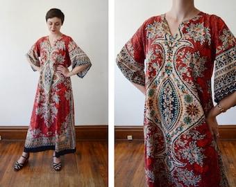 1970s Red Cotton Dashiki - S/M