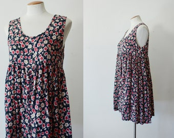 1990s Rayon Babydoll Dress - S