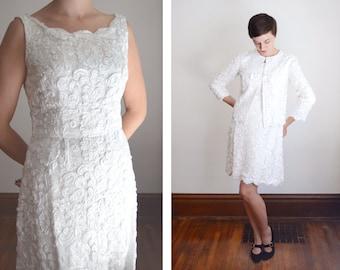 50s/60s White Soutache Dress and Jacket - M