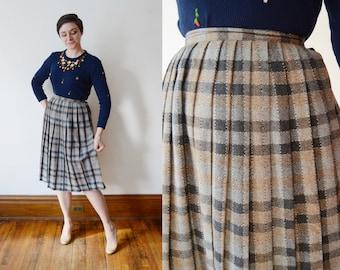 1970s Grey Pleated Skirt - S