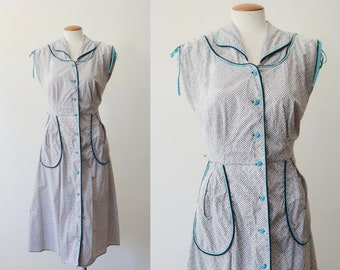 1950s Patterned White Cotton Shirt dress - L