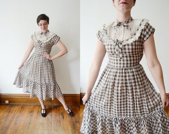 1940s Brown and White Checkered Dress - S
