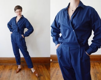 Late 1980s Cotton Gap Blue Coveralls - L/XL