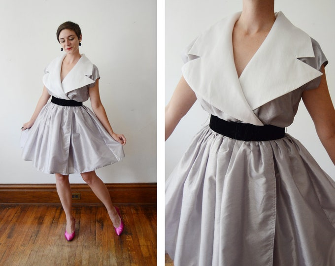 1980s Silver Party Dress - M