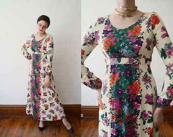 1970s Cream Floral Maxi Dress - S