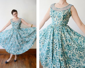 1950s Blue Silk Floral Dress with Mesh Neckline - M