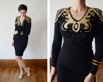 1980s Angora Sweater dress with Sequined Shoulders - S