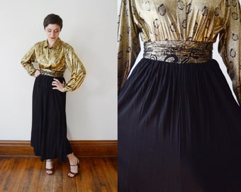 80s Black Skirt with Gold Waistband - S/M