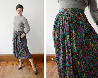 1980s Black Rayon Floral Skirt - M