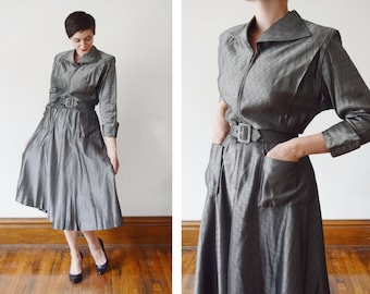 1940s Dark Silver Zip Up Dress - S/M