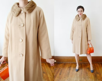 60s Cashmere Coat with Mink Collar - M