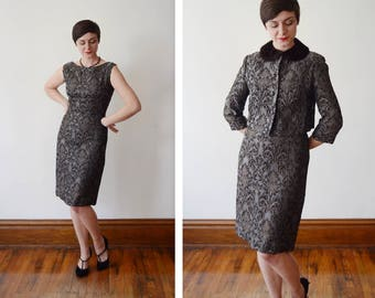 Early 60s Brocade Wiggle Dress and Matching Jacket - S