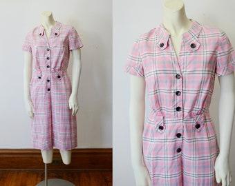 1950s Pink Cotton Plaid Dress - XS