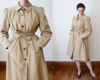1980s Lined Khaki Trench Coat - M