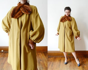 1940s Mustard Wool Swing Coat - M