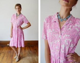 1960s Pink Nylon Jersey Dress - S