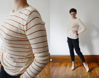 White and Red Striped Sweater - M