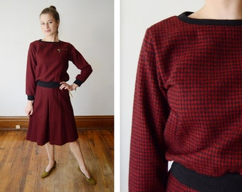 Deadstock Vintage Ralph Lauren Houndstooth Top and Skirt Set - XS