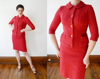 Early 1960s Red Knit Skirt Suit - S
