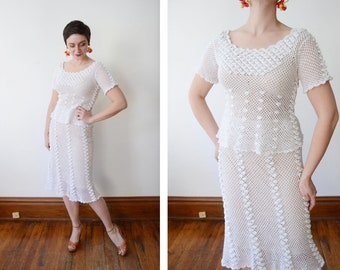 1980s White Crochet Top and Skirt Set - S/M