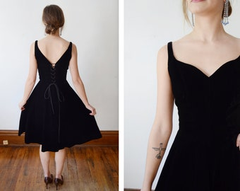 1950s Black Velvet Corset Dress - XS/S