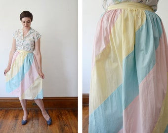 1940s Pastel Cotton Skirt - XS