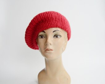 Aris Red Knit Beret Hat