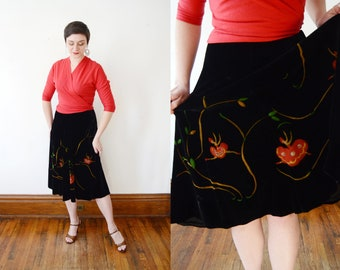 1950s Black Painted Velvet Ballet Dancer Skirt - XS