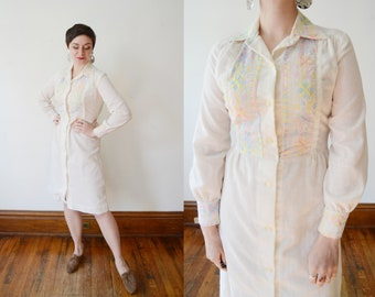 1970s Embroidered Shirt Dress - S/M