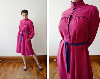 1980s Magenta and Purple Skirt Dress - S/M