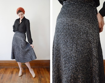 50s/60s Metallic Silver Quilted Skirt - S