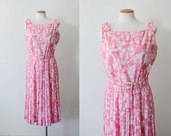 1960s Pink Patterned Dress - M
