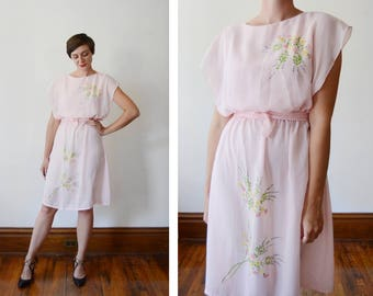 1970s Sheer Pink Handprinted Dress - XS