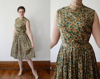 1960s Floral Green Day Dress - M