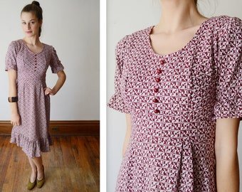 1970s Knit Ruffle Dress - XS