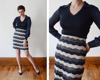 1970s Metallic Knit Dress - S