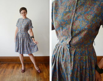 1950s Blue and Red Paisley Shirt Dress - S/M