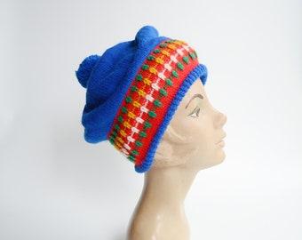1980s Blue Knit Winter Hat