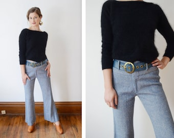 1970s Blue Herringbone Flared Pants - S