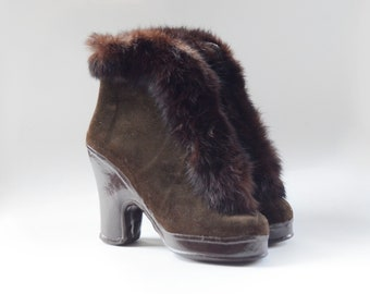 1940s Brown Gaytees Rabbit Fur Galoshes - 6