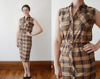 50s/60s Brown Plaid Fitted Shirt Dress - S