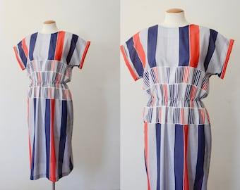1980s Striped Dress - M