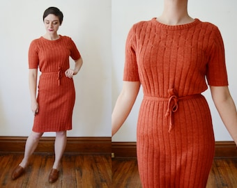 60s Rust Orange Sweater Dress - M