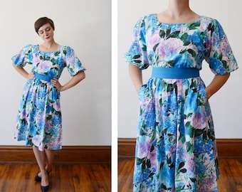 1980s Watercolor Roses Floral Dress with Puff Sleeves - S/M