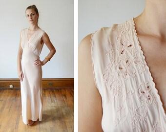 50s Silk Bias Cut Vintage Nightgown - S