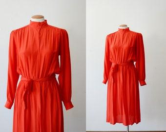 1980s Red Silk Dress - S