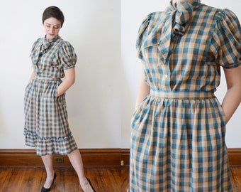 1970s Plaid Blouse and Skirt Set - M