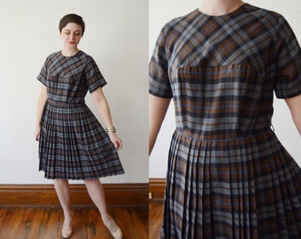 1960s Blue Plaid Day Dress - M/L